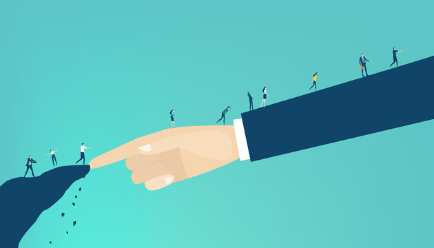 Hand of big boss, businessman helps to little people to find a way. Support, sorting the problems, advisory, control. Business concept illustration.