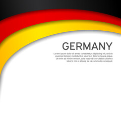 Abstract waving germany flag. Paper cut style. Creative background for design of patriotic holiday card. National poster. State German patriotic cover, flyer. Vector tricolor design
