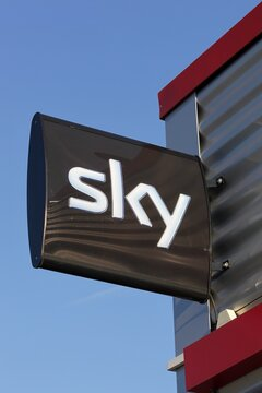 Bremen, Germany - September 1, 2018: Sky logo on a signboard. Sky UK is a British broadcaster and telecommunications company that provides television and broadband Internet services