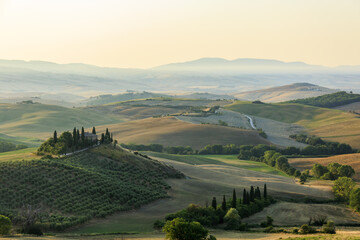 Sunrise in Val d'Orcia, colors of nature, a beautiful landscape