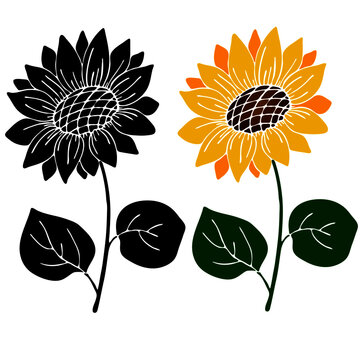 set of sunflower in bright and black colors, template, stencil, isolate on a white background