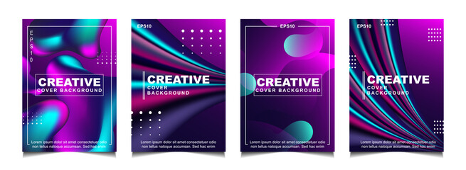 Set of trendy gradient cover design abstract background template with dynamic soft colorful and wavy fluid shapes. Vector a4 layout can use modern poster, flyer, annual report, book, presentation