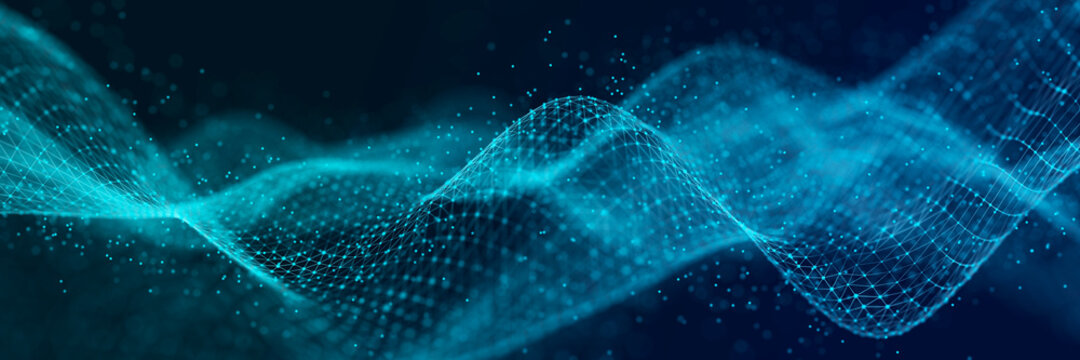 Abstract technology stream background. Digital dynamic wave of dots. Network connection structure. 3D rendering.