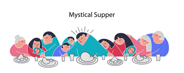 Stylization last supper flat collection family trendy flat people
