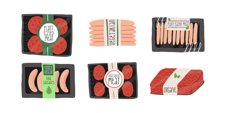 Packs of meat healthy alternative for vegetarians or vegans. Organic, plant-based patty melt, barbecue sausages, mince.