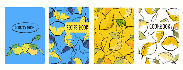 Cover page vector templates for recipe books based on seamless patterns with hand drawn lemons. Cookery books cover layout. Healthy fruit, vegan food concept