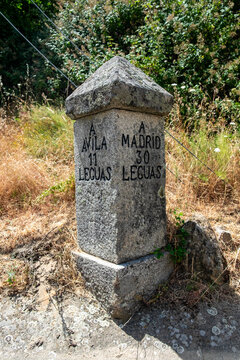 Antique stone cairn directional sign from Avila or Madrid