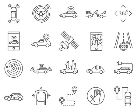 Set of Smart car, line vector icons.