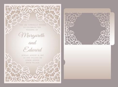 Floral laser cut frame pocket envelope for wedding invitations. ornamental wedding invite mockup. pocket envelope design.