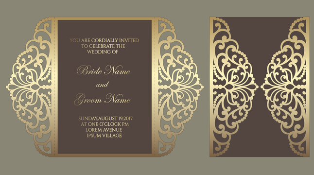 Gate fold laser cut wedding invitation. Vector template for laser cutting.