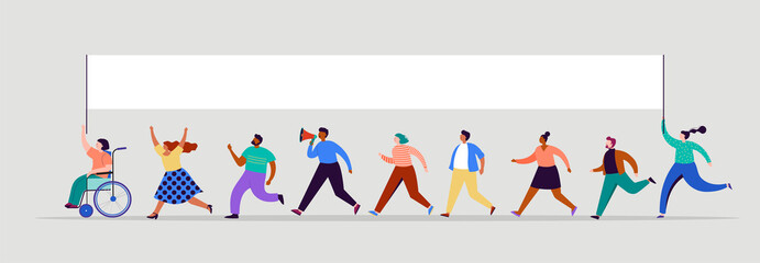 Group of people, walking with flags. Crowd of women and men at a demonstration. Concept for public campaign, voting theme vector background.