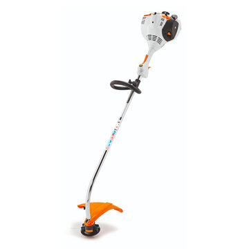Electric Cordless Lithium-ion Grass Trimmer Isolated on White Background. Side Front View of  Blue String Trimmer. Garden Power Tool Equipment. Orange and White Modern Brush Cutter