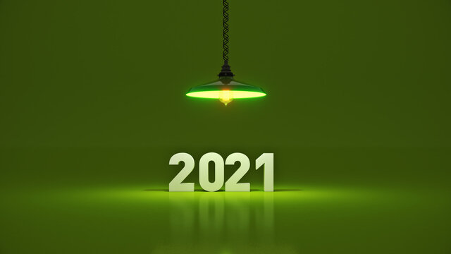 2021 New Year sign inside light bulbs. 3D rendering
