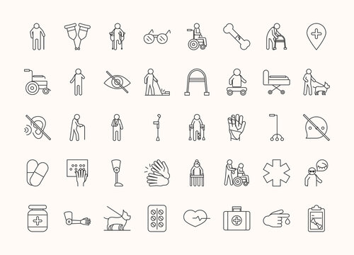 world disability day, handicapped or disabled people, linear icons set design
