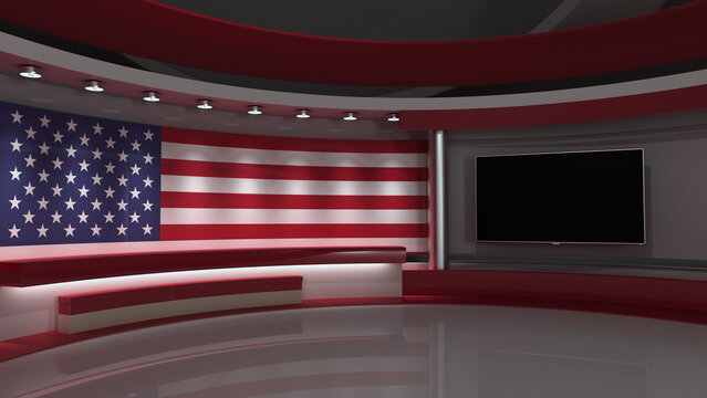 USA flag. TV studio. USA flag studio. USA flag background. Background for usa electoral programs. USA elections. 3d render. 3d