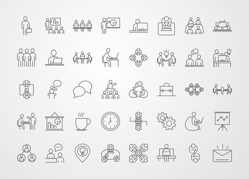 coworking office business workspace, line icons design