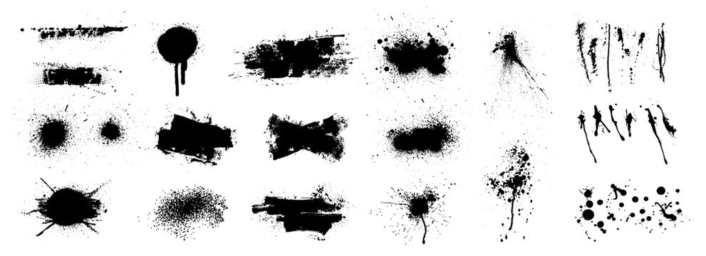 Nice splatter collection and large brush strokes. Abstract grunge collection for backdrop. High quality manually tracked. Different hand drawn spray design, grunge splash, ink blots. Splatter vector