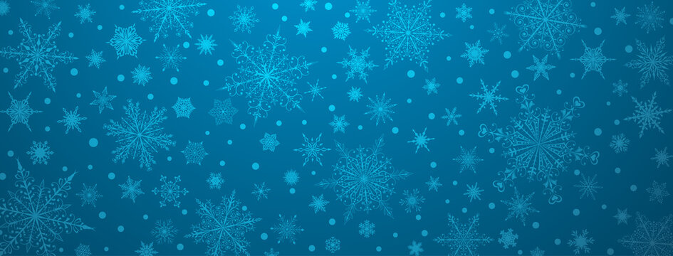 Christmas background of various complex big and small snowflakes, in light blue colors