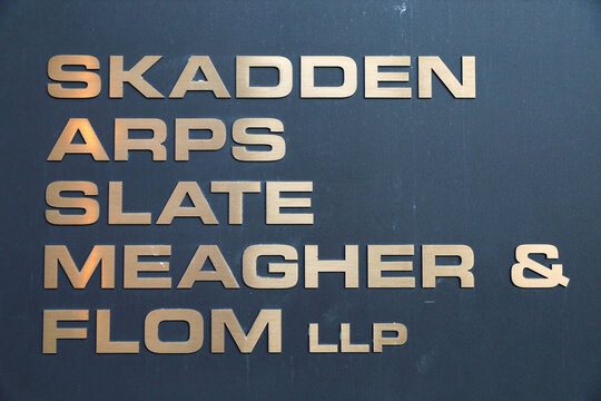 Signage is seen outside of the law firm Skadden, Arps, Slate, Meagher & Flom LLP in Washington, D.C.