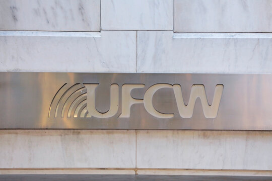 The United Food & Commercial Workers International Union (U.F.C.W) logo is seen at their headquarters in Washington, D.C.