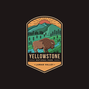 Lineart Emblem patch logo illustration of Lamar Valley Yellowstone National Park