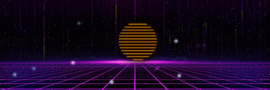 Retro cyberpunk style 80s Sci-Fi Background Futuristic with laser grid landscape. Digital cyber surface style of the 1980`s. 3D illustration. For banner