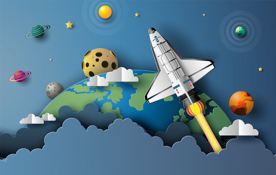Paper art style of the space shuttle taking off in space, start-up concept, flat-style vector illustration.