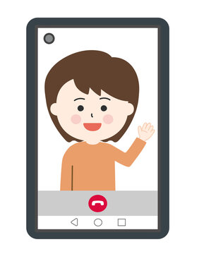 Woman having video call on smartphone. Vector illustration isolated on white background.