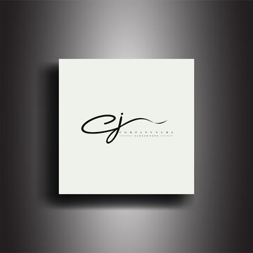 CJ Signature style monogram.Calligraphic lettering icon and handwriting vector art.