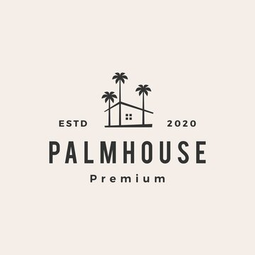 palm house hipster vintage logo vector icon illustration