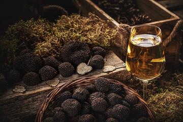 Still life of black truffle