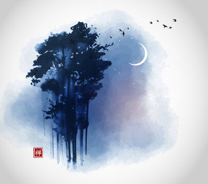 High green forest trees and flock of birds on night sky background with crescent moon. Traditional oriental ink painting sumi-e, u-sin, go-hua. Translation of hieroglyph - zen