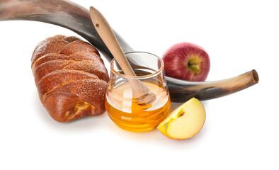 Honey with apples, shofar and challah on white background. Rosh Hashanah (Jewish New Year) celebration