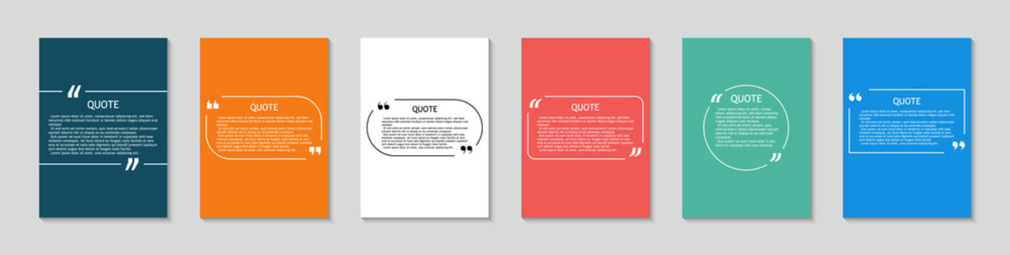 Quote in box. Square template for text bubbles with quotation. Background with frame for citation. Design for label, sticker and dialog. Creative set for media sentence with brackets. Vector