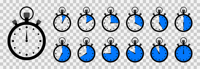 Timer and stopwatch. Clock with countdown time. Round icon for meter speed and stop. Chrono watch for cooking and sport. Background with second arrow on 45, 30, 15, 10, 5. Label for ui. Vector