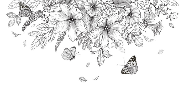 Hand Drawn  Wild Flowers  and  Flying Butterflies