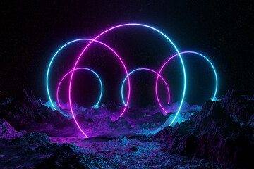 Abstract background with blue and pink neon light circles reflecting on asteroid ground 3D rendering