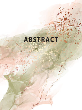 Watercolor vector abstract splash background. Watercolour stain earth tone paint, sage green beige and gold splatter texture drip, Liquid effect drop ink