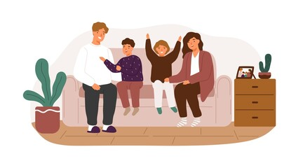 Happy family smiling sitting on couch vector flat illustration. Joyful parents and children spending time together at home isolated. Mother, father, son and daughter rejoicing enjoying weekend