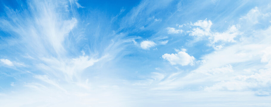 International day of clean air for blue skies concept: Abstract white puffy clouds and blue sky in sunny day texture background