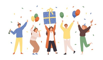 Group of happy people raising hands celebrating holiday with colorful confetti vector flat illustration. Woman hold gift box having fun with friends isolated. Person with balloons and champagne