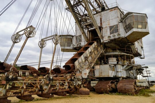 Old multi Bucket chain excavator Takraf Ers 710 in Russia