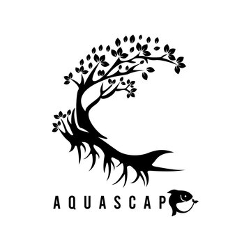 Aquascape logo icon line art nature.