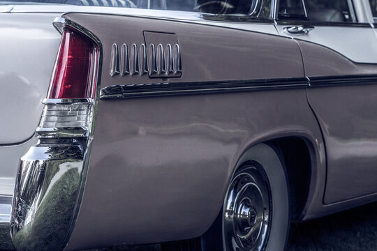 Partial rear view of a beautiful classic car from the fifties