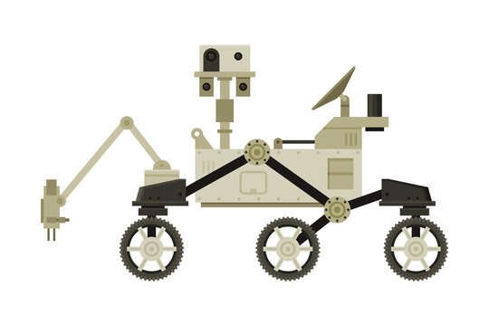 Moon or Mars Rover, Robotic Space Vehicle, Cosmos Exploration Theme Flat Vector Illustration on White Background