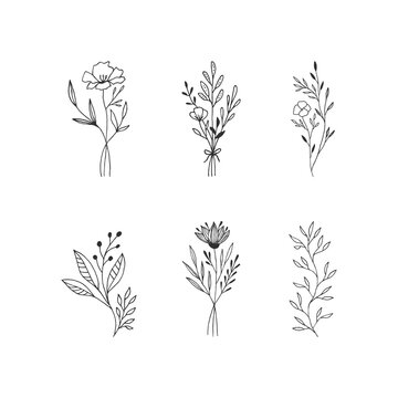Set of hand drawn bouquets of flowers. Vector isolated illustration.