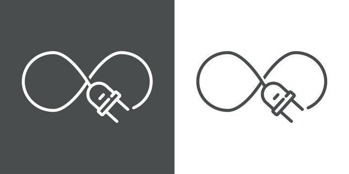 Concepto energía eléctrica. Logotipo lineal enchufe eléctrico con cable como nudo infinito en fondo gris y fondo blanco