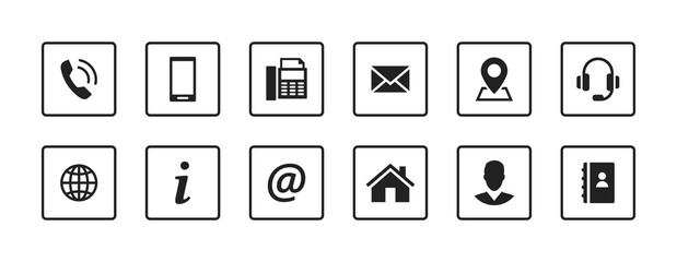 Set contact icons in a square. Black vector symbol elements.