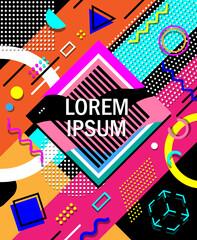 Modern memphis style design geometric background, abstract geometric background design template graphics, playful geometric shape pattern