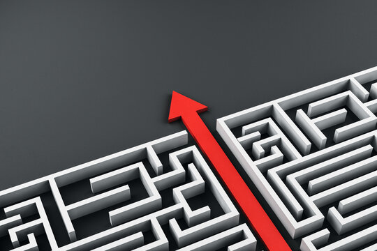 Creative white maze with red arrow.